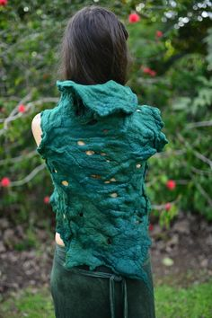 Felt Melted Forest Green Pixie Woodland Forest Nymph by frixiegirl