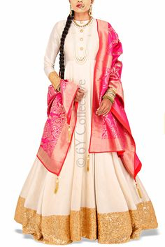 Pure Ivory Anarkali with Rani Benarasi Dupatta (Code: A1718)Price: INR 6790To shop visit here: http://www.6ycollective.com/products/A1718/