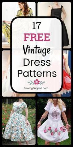 Free Dress Patterns: 17 Free Vintage Dress patterns, tutorials, and diy sewing p. Free Dress Patterns: 17 Free Vintage Dress patterns, tutorials, and diy sewing projects for women with styles inspired by the and 1950s Dress Patterns, Dress Sewing Patterns, Vintage Sewing Patterns, Clothing Patterns, Skirt Patterns, Coat Patterns, Blouse Patterns, Sewing Clothes, Diy Clothes