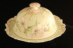 Coiffe Limoges France Hand Painted China Porcelain Covered Cheese Dish