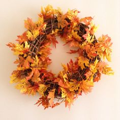 "Fall Wreath Orange and Yellow Fall Leaves 18"" Grape Vine Wreath"