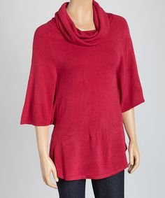 This Sangria Cowl Neck Short-Sleeve Sweater is perfect! #zulilyfinds