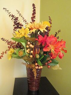 Fall Floral Arrangement Fall Home Décor Fall by SilvaLiningDesigns