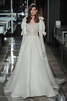 1c1820387cf3 reem acra spring 2018 bridal puff long sleeves sweetheart neckline heavily  embellished bodice victorian vintage a line wedding dress long train mv --  Reem ...