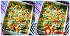 Obed z jednej panvice, rýchly a výborný. Navyše, je to aj veľmi ľahké jedlo bez zbytočného tuku.  Postup:  1,5 kg zemiakov    400 g kuracích pŕs    brokolica rozdelená na ružičky    jarná cibuľka    cesnak    niva    (30%) smotana    sójová omáčka    grilovacie korenie    soľ  Postup:  Zemiaky ošúpeme, nakrájame na tenké kolieska a Vegetable Pizza, Macaroni And Cheese, Chicken Recipes, Food And Drink, Vegetables, Breakfast, Ethnic Recipes, Ideas, Food