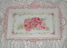 Image detail for -SOLD Chic PINK HP ROSES HUGE SERVING/VANITY TRAY