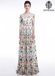 9318891ba3 Items similar to White Tulle Maxi Length Evening Dress w. Floral Accents   Floor Length Floral Colorful Embroidered Formal Gown Long Sleeve Cocktail  Dress ...