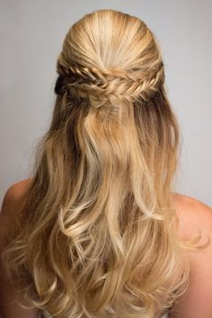 Fishtail braid half up style for wedding homecoming prom