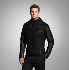 Moto Jacket With Leather Sleeves - Kenneth Cole