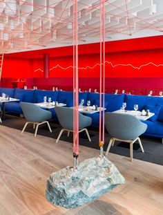 The Saltz restaurant:   a rock hung from red climbing ropes all feature in artist Rolf Sachs'