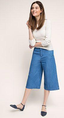 Esprit / Culotte aus Denim, 100% Baumwolle