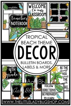 Get ready for back to school with the Modern Tropical Beach decor theme! This editable set is fun, unique, and has everything you need to decorate your classroom with a cohesive look. The perfect DIY bundle for any elementary classroom, including posters, name plates, alphabet posters, teacher notebook, organization labels, bulletin board decor, and more! #thelittleladybugshop