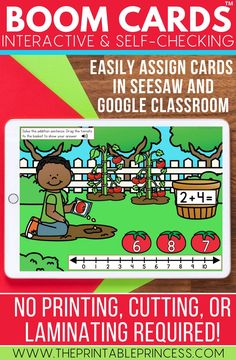 Help your students practice kindergarten skills in a fun, interactive way. These digital task cards are great for learning at home or at school. Use them as reinforcement during distance learning or at a technology center in the classroom.  These Boom Cards are interactive and self-checking and can be easily assigned in Seesaw and Google Classroom. No printing, cutting, or laminating required!