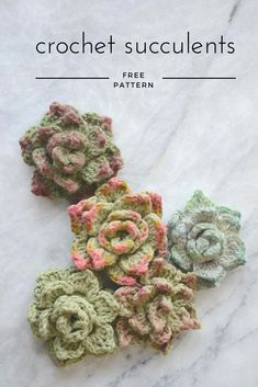 Rosette Succulents - FREE crochet pattern & tutorial. Use items that you already have at home to make your crochet succulents look even more realistic! picotpals.com #succulents #free crochet pattern