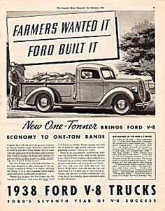 Vintage 1938 Ford V-8 Pick Up Truck Magazine Print Ad