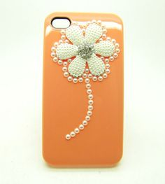 Orange case Crystal Beads flower  Hard Case Cover by sevenvsxiao, $11.99