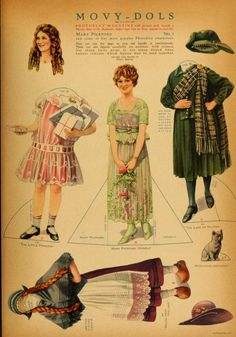 """MARY PICKFORD MOVY DOL -   PhotoPlay Magazine created the """"Movy Dol"""" series, dedicating a full color page to them each month.  America's Sweetheart Mary Pickford, was the first starlet to be featured along with outfits from some of her popular characters.  1 of 1"""
