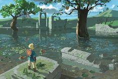 ArtStation - Zelda Breath of the wild fan art (Sage temple ruins), Charlie Bonneson The Legend Of Zelda, Legend Of Zelda Breath, Image Zelda, Zelda Video Games, Temple Ruins, Link Zelda, Twilight Princess, Princess Zelda, Breath Of The Wild