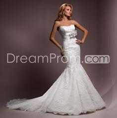 Brilliant Trumpet/Mermaid Strapless Floor-Length Embroidery Wedding Dresses