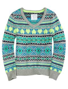Fair Isle V-neck Sweater | Girls Sweaters Clothes | Shop Justice