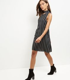 fe5c865d562b4 New Look Black Stripe Cut Out Choker Tunic Dress (595 CZK) ❤ liked on
