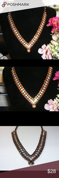 """Vintage silver tone dark Amber /clear rhinestone Beautiful Silver Tone Dark Amber & Clear Rhinestone Necklace Adjustable Length from 13"""" - 15"""" - Hook Clasp Necklace is unmarked, maker unknown. I estimate this necklace to have been made in/around the 1950's. It is in very good condition! NO missing stones! An excellent & Beautiful vintage item to add to your collection! Vintage Jewelry Necklaces"""