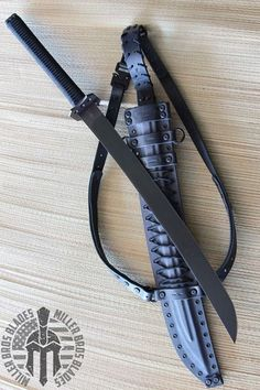 Blades Custom Katana with Leather Back Carry System. This model is available in Z-Wear PM & CPM steels Miller Bros. Tactical Swords, Katana Swords, Tactical Knives, Knives And Swords, Tactical Gear, Zombie Weapons, Ninja Weapons, Arte Ninja, Sword Design
