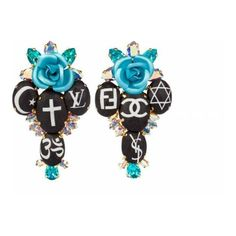 Bijoux De Famille Holy Fashion Rosary Cross Earrings ($226) ❤ liked on Polyvore featuring jewelry, earrings, multi, rose jewellery, cross jewelry, leather charm, swarovski crystal jewelry and earring charms