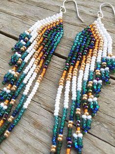 Seed Bead Earrings Fringe Earrings Long by EmeraldArtDesigns