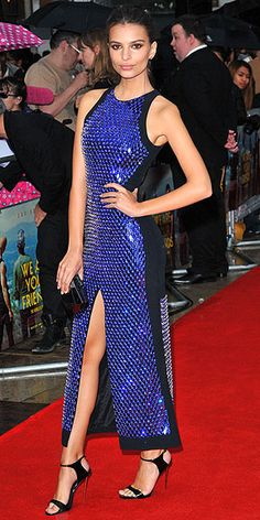 Last Night's Look: Love It or Leave It? Vote Now! | EMILY RATAJKOWSKI  | in a vibrant, beaded blue David Koma dress with a Monique Lhuillier cluch and Giuseppe Zanotti Design heels at the European premiere of her new movie We Are Your Friends in London.
