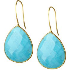 Accent a crisp blouse or sweeping updo with these elegant earrings, showcasing faceted turquoise-inspired stones in 18-karat gold-plated settings.