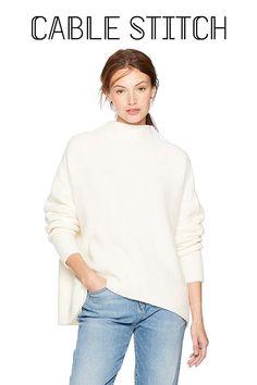 8da57f2753 Amazon.com  Cable Stitch Women s Mock Neck Cozy Sweater  Clothing