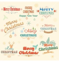 Retro vintage merry christmas labels vector - by vectomart on VectorStock®