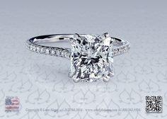 Cushion cut diamond solitaire engagement ring by Leon Mege
