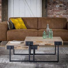 Industriële-Salontafel-STAALCO-Teca-Square-70x70-cm-Teak-Zwart-Metaal-Vierkant Table Teck, Design Tisch, Shelving Design, Inside Design, Small Room Bedroom, Recycled Furniture, Interior Decorating, Room Decor, Wood