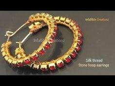 How to make earrings in 5 mins Silk Thread Earrings, Fabric Earrings, Thread Jewellery, Fabric Jewelry, Beaded Earrings, Earrings Handmade, Beaded Jewelry, Handmade Jewelry, Hoop Earrings