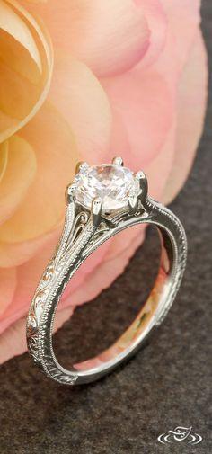 Platinum Petite Filigree Engagement Ring with Vintage Style Engraving. Green Lake Jewelry 109983