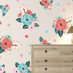 This photo is undeniably an outstanding design philosophy. Teal Coral, Teal And Pink, Floral Letters, Floral Wall, Coral Bedroom, Fantasy Bedroom, Room Wall Painting, Flower Window, Flower Wall Decals