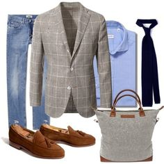 dresslikea:    Monday inspiration - Suede & windowpane.  Sport coat - Boglioli Jeans: Acne Shirt: Glanshirt Tie: Drake's  Tassel loafers: Meermin Tote bag: WANT Les Essentiels