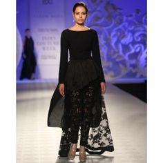 Black Asymmetric Peplum Dress with Leggings