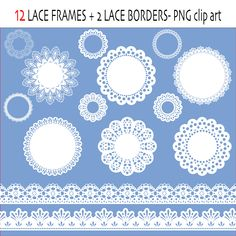 Lace digital clipart labels or frames and borders in white - 14 png files -Digital scrapbook doilies - INSTANT DOWNLOAD Pack 015. $2.50, via Etsy.