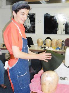 Here I am teaching a Freeform Hat Blocking Workshop in October 2011.     First, you steam the fur felt hood on the Jiffy hat steamer......  http://jasminzorlu.blogspot.com/2011/11/new-york-aspiring-milliners-im-here-to.html