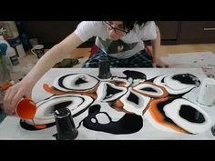 Fluid Painting - Black, White & Orange - YouTube