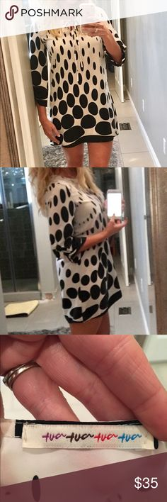 Polka dot boho dress Cream and black polka dot dress or tunic. 3/4 sleeve. Ask all questions before making an offer Dresses Mini