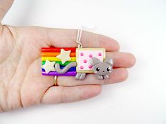 Kawaii Nyan Cat Charm Necklace Polymer Clay by PeeWeesClayHouse, $15.00