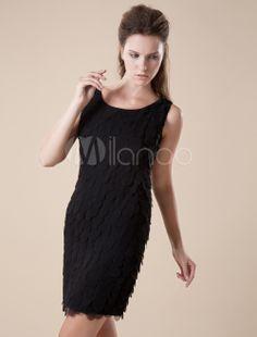 [90,41€] Mini robe de cocktail gaine noire en polyester col rond   ca c'est soft