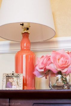 This diy bottle lamp was created using empty wine spirit bottle that painted in orange and will look great for your handmade desk decoration