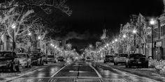 Christmas street lights scene in black and white in downtown Oakville.
