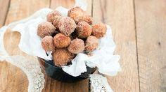 Mini doughnut holes covered in cinnamon, sugar and caramel make a popable breakfast treat.