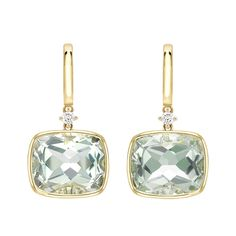 Kiki Classic Cushion Cut Green Amethyst and Diamond Earrings